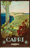 "Movie Posters:Miscellaneous, Capri, Italy Travel Poster by Mario Borgoni (ENIT, Late 1920s-Early1930s). Travel Poster (25"" X 40.5""). Miscellaneous.. ..."