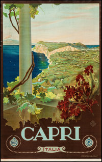 "Capri, Italy Travel Poster by Mario Borgoni (ENIT, Late 1920s-Early 1930s). Travel Poster (25"" X 40.5""). Misce..."
