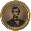 Political:Ferrotypes / Photo Badges (pre-1896), Abraham Lincoln: Jumbo 1864 Ferrotype....