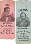Political:Ribbons & Badges, Rutherford B. Hayes and Samuel Tilden: Pair of Portrait Ribbons.... (Total: 2 Items)