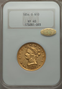 1854-O $10 Large Date XF40 NGC. Gold CAC. Variety 4....(PCGS# 98614)