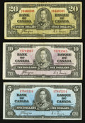 Canadian Currency: , Coyne-Towers 1937 Notes.. ... (Total: 3 notes)