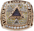 Movie/TV Memorabilia:Memorabilia, A Los Angeles Lakers NBA Championship Ring Gifted to Stallone byShaquille O'Neal, 2002.. ...