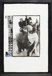 """A Peter Beard Signed Limited Edition Print Titled """"Rhino Roping 65-66,"""" 2000"""