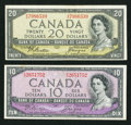 "Canadian Currency: , Beattie-Coyne ""Devil's Face"" Portrait $10 and $20 1954 Notes.. ... (Total: 2 notes)"