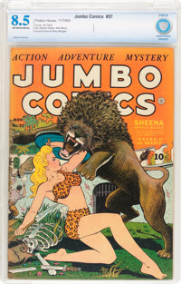 Jumbo Comics #57 (Fiction House, 1943) CBCS VF+ 8.5 Off-white to white pages