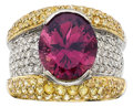 Estate Jewelry:Rings, Rubellite Tourmaline, Diamond, Sapphire, Gold Ring. ...