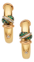 Estate Jewelry:Earrings, Enamel, Gold Earrings, La Nouvelle Bague. ...