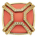 Estate Jewelry:Rings, Coral, Diamond, Gold Ring, Di Modolo. ...