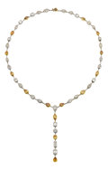 Estate Jewelry:Necklaces, Diamond, Colored Diamond, Gold Necklace. ...