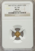 California Fractional Gold: , 1869 25C Liberty Octagonal 25 Cents, BG-748, R.5, MS62 NGC. NGCCensus: (5/1). PCGS Population (15/14). ...