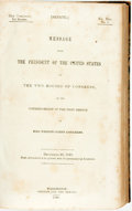 Books:Americana & American History, [Zachary Taylor]. Message from the President of the UnitedStates to the Two Houses of Congress, at the Commencement of...
