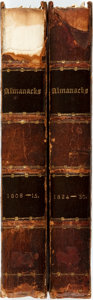 Books:Americana & American History, [Almanac]. Two Bound Volumes of Vox Stellarum; or, a LoyalAlmanack. London: The Company of Stationers, 1808 - 1...(Total: 2 Items)