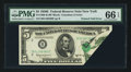 Error Notes:Foldovers, Fr. 1966-B $5 1950E Federal Reserve Note. PMG Gem Uncirculated 66EPQ.. ...