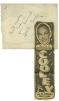 Music Memorabilia:Autographs and Signed Items, Spade Cooley Autograph. Autograph book page signed by theself-proclaimed King of Western Swing in blue ink, in Excellentc...