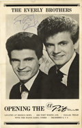 Music Memorabilia:Autographs and Signed Items, Everly Brothers Autographed Handbill. A Handbill for a series ofperformances at the Bronco Bowl's Pit Club in Dallas, sign...