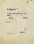 "Music Memorabilia:Autographs and Signed Items, Ritchie Valens Signed Agreement with Song Titles. Dated November 12, 1958, this one-page, typed agreement reads: ""Dear Gail..."