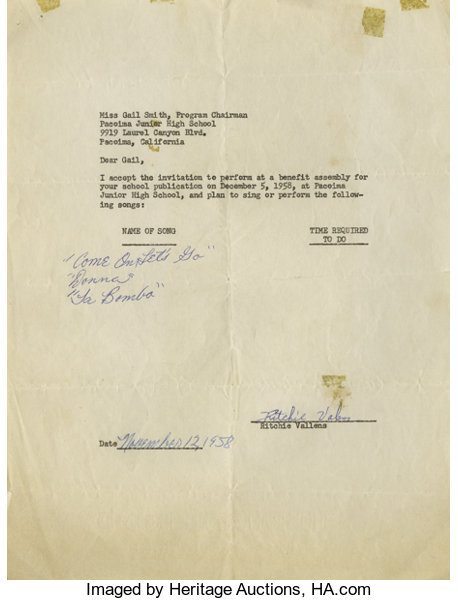 Ritchie Valens Signed Agreement With Song Titles Dated Lot 21048