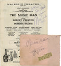 "Music Memorabilia:Autographs and Signed Items, Meredith Willson Autographs. A program for a performance of ""TheMusic Man"" starring Robert Preston, signed by composer Mer..."