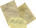 Music Memorabilia:Autographs and Signed Items, Victor Young Autographs. Three great specimens of the composer'sautograph, each with with handwritten music and each in Ex...