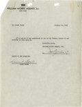 Music Memorabilia:Autographs and Signed Items, Count Basie Signed Contract. William Morris Agency contract datedJanuary 24, 1949, and signed by Basie in black ink. In Ve...