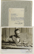 "Music Memorabilia:Autographs and Signed Items, Lionel Hampton and Stan Kenton Signed Items. Included is a b&w8"" x 10"" photo inscribed ""To Mattawa High School, best wishe..."