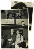 "Music Memorabilia:Autographs and Signed Items, Howard Alden, Harry Allen, Joe Ascione, Bucky Pizzarelli, and BillAllred, Autographed Al White ""Jazz Party"" Silver Prints, Gr...(Total: 4 Items)"