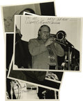 "Music Memorabilia:Autographs and Signed Items, Carl Fontana, Bud Freeman, Dave Frishberg, and Urbie Green,Autographed Al White ""Jazz Party"" Silver Prints, Group of 4(1983-... (Total: 4 Items)"