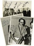"""Music Memorabilia:Autographs and Signed Items, Bobby Hackett, Al Cohn, Connie Kay, George Duvivier, Kenny Davern,Bob Wilber, and Marty Grosz, Autographed Al White """"Jazz Par...(Total: 3 Items)"""