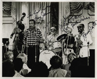 """Gus Johnson, Zoot Sims, Frank Rosolino, and Benny Carter, Autographed Al White """"Jazz Party"""" Silver Print (1976..."""