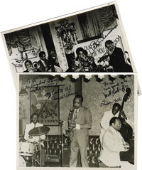 """Jay McShann, Buddy Tate, Trummy Young, Ray Brown, and Vic Dickenson, Autographed Al White """"Jazz Party"""" Silver..."""