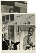 "Music Memorabilia:Autographs and Signed Items, Flip Phillips, Buddy Tate, Clark Terry, Carl Fontana, Joe Venuti,and Vic Dickenson, Autographed Al White ""Jazz Party"" Silver ...(Total: 3 Items)"