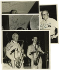 "Music Memorabilia:Autographs and Signed Items, Flip Phillips, Scott Hamilton, Jake Hanna, Milt Hinton, Pee WeeErwin, and Dick Hyman, Autographed Al White ""Jazz Party"" Silve...(Total: 4 Items)"