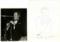 Music Memorabilia:Autographs and Signed Items, Milt Hinton, Bob Wilber, and Dick Gibson, Autographed Al WhiteSilver Prints and Signed Jazz Party Sketches, Group of 6 (Vario...(Total: 6 Items)