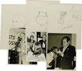 Music Memorabilia:Autographs and Signed Items, Peanuts Hucko, Joe Venuti, Marty Grosz, and Bud Freeman,Autographed Al White Silver Prints and Signed Jazz Party Sketches,Gr... (Total: 6 Items)