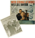 "Music Memorabilia:Autographs and Signed Items, Signed ""With Strings Attached - Wild Bill Davidson"" Columbia CL 983Mono LP, with Autographed Al White Silver Print (undated)...."