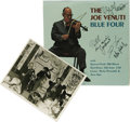 "Music Memorabilia:Autographs and Signed Items, Signed ""The Joe Venuti Four"" Chiaroscuro CR134 Stereo LP withAutographed Al White Silver Print (1974). Jazz violinist Joe V..."