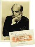 "Music Memorabilia:Documents, Al Jolson White House Pass With Photo. Small, 4"" x 2.5"" pass card written to Jolson for the date of Franklin D. Roosevelt's..."