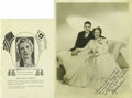 """Music Memorabilia:Memorabilia, Rolf and Aimee Semple McPherson Signed Hymnal and Photograph. Featured is a copy of the """"Foursquare Hymnal of Standard Songs... (Total: 2 Items)"""