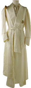 Music Memorabilia:Costumes, Marvin Gaye Stage-Worn Pajamas. This pair of white silk pajamaswith matching robe was worn onstage by Gaye when he would p...