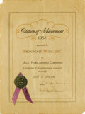 "Music Memorabilia:Awards, Broadcast Music, Inc. Certificate. Citation of Achievement issuedto the Ace publishing Company in 1958 ""in recognition of t..."