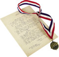 Music Memorabilia:Autographs and Signed Items, Jimmie Davis Hall of Fame Medal and Handwritten Lyrics. JimmieDavis' biggest success as a songwriter came with the hauntin...(Total: 2 )