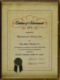 Music Memorabilia:Awards, Delaney Bramlett Achievement Award. Issued in 1972 to Bramlett, onehalf of the husband-and-wife duo Delaney and Bonnie, by...