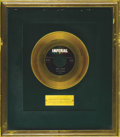 "Music Memorabilia:Awards, Fats Domino ""Goin' Home"" Imperial Gold Record Award (1958). Thisrare Imperial gold record award was produced in-house and ..."