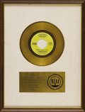 "Music Memorabilia:Awards, Looking Glass ""Brandy"" Gold Record Award. Matte-style RIAA awardpresented to Columbia Sales -- Houston ""to commemorate the..."