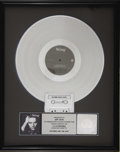 "Music Memorabilia:Awards, Sting ""Nothing Like the Sun"" Platinum Album Award. Commemoratingthe sale of 1 million copies of Sting's 1987 LP, his secon..."