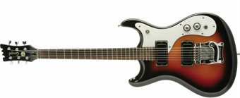 Featured item image of Nirvana: Kurt Cobain's 1960s Mosrite Gospel Guitar. This instrument is unusual in a couple of ways. First, it is one of only...