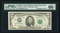 Error Notes:Skewed Reverse Printing, Fr. 1980-J $5 1988A Federal Reserve Note. PMG Gem Uncirculated 66EPQ.. ...