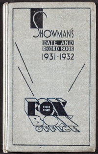 "Showman's Date and Record Book 1931-1932 Fox Films (Fox, 1931). Hardcover Exhibitor Date Book (194 Pages, 4.75"" X 7..."