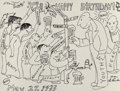 Mainstream Illustration, James Thurber (American, 1894-1961). Happy Birthday, May 27,1933. Ink on paper. 4.25 x 5.5 in. (sheet). Signed and date...